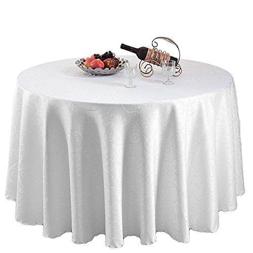 Weddecor Nappe ronde en damas 120 cm avec motif tourbillon pour mariage, événements, fête, restaurant, salle à manger simple, Polyester, 228,6 cm., 5