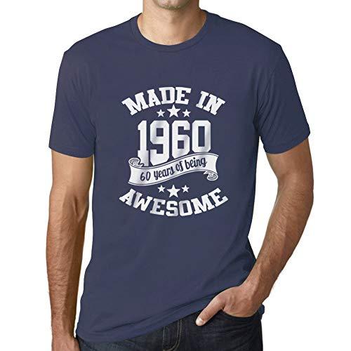 Ultrabasic - Uomo Maglietta Made in 1960 Regalo di Compleanno 61 Anni T-Shirt Regalo Idea per Il 60 � Compleanno Lettera di Stampa Denim