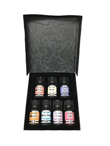 Top Fragrance Oil Gift Set - Best 7 Scented Perfume Oil - Cotton Candy, Freesia, Frosted Cupcake, Rose, Violet, Vanilla & Strawberry - Premium Grade - 10 mL by Sponix