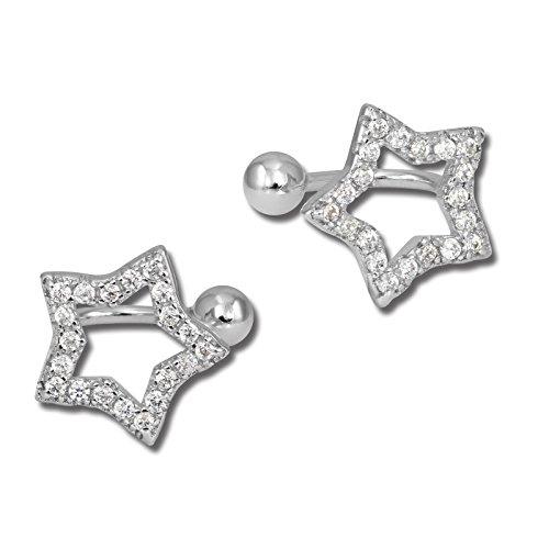 SilberDream GSO434W - Orecchini a clip a forma di stella con zirconi, in argento 925
