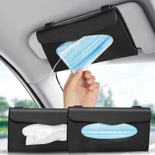 2 Stück Auto Tissue Halter, PU Leder Tissue Box Halter, Sonnenblende Serviette Halter für Auto Sonnenblende Auto Rücksitz Autozubehör, Schwarz