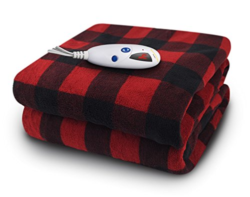 Biddeford Blankets Micro Plush Electric Heated Blanket, Throw, Black/Red Buffalo Plaid