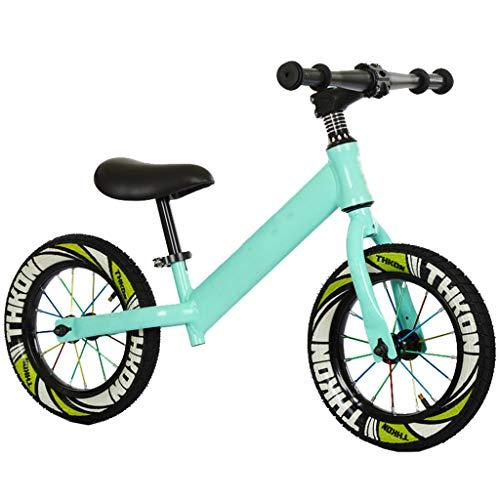 SJY Ausbalancierter Fahrradrahmen aus Kohlenstoffstahl ohne Pedal Laufbalance Schiebe-Fahrrad-Trainingsfahrrad, 2 bis 4 Jahre alt, Kinder Zweirad (grün),Grün