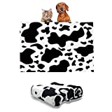 1 Pack 3 Dog Puppy Blanket Small Fluffy Couch Pet Cat Soft Throw Pet Washable Comfort Blankets Flannel Black White Cow Print