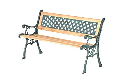 Import Panchina da Giardino in Legno e ghisa Panca per Esterni con braccioli