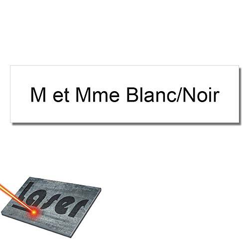 Mygoodprice Graveerplaat voor naam, brievenbus, zelfklevend, 99 x 24 mm, 1 tot 3 regels Blanc Écriture Noire