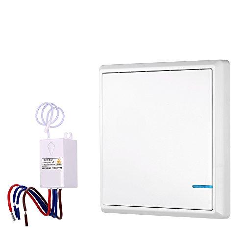 KKmoon Transmisor Receptor Interruptor de Control Remoto AC 180-275V Conmutador Inalámbrico Controlador Impermeable Iluminación Casa y Electrodomésticos