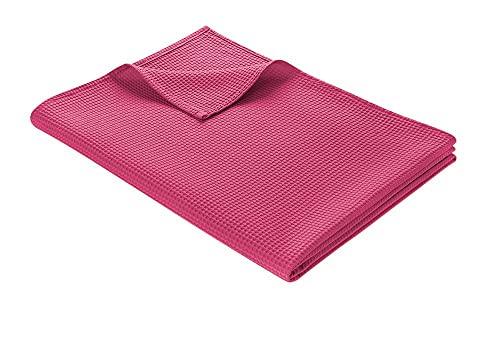 WOHNWOHL Tagesdecke 150 x 200 cm • Waffelpique leichte Sommerdecke aus 100prozent Baumwolle • Luftige Sofa-Decke vielseitig einsetzbar • Leicht zu pflegene Wohndecke • Baumwolldecke Farbe: Rosa