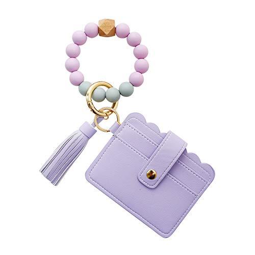 Pulsera de silicona llavero Pu borla tarjeta caso llavero decoración pulsera llavero para mujeres