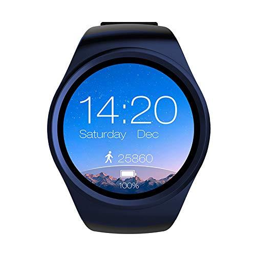 AUBERSIT Aktivitätstracker, Männer Frauen Bluetooth Smart Support SIM TF Karte Android & amp;IOS System Watch Einfacher Sport Silikon Armband Zifferblatt Herzfrequenzmesser,Schwarz