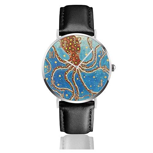 Reloj de Pulsera Big Squid Nadando en el Agua Durable PU Correa de Cuero Relojes de Negocios de Cuarzo Reloj de Pulsera Informal Unisex
