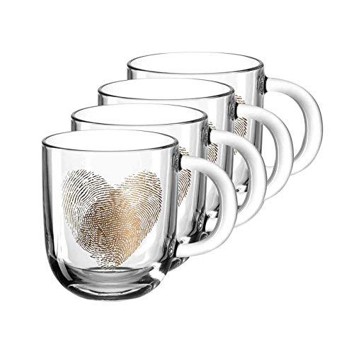 LEONARDO HOME 046449 EMOZIONE Tasse 400 ml mehrfarbig Fingerabdruckherz 4er-Set, Glas, klar