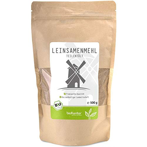 bioKontor // Leinsamenmehl, Leinmehl - teilentölt, low carb, Omega-3-Fettsäuren, Ballaststoffreich - 500 g - BIO (500g)