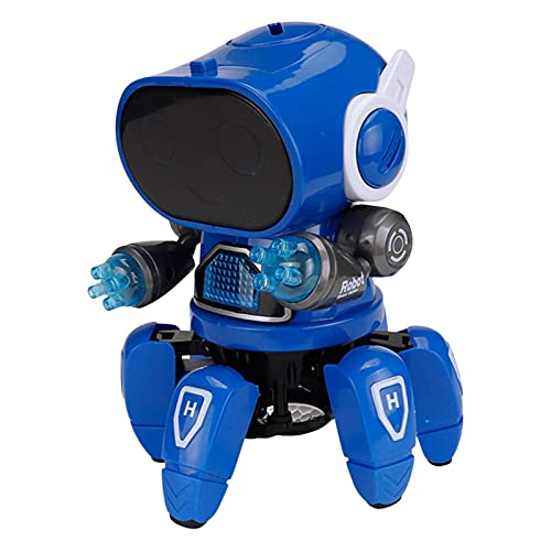 Transformers Hexapod Robot Toy with Cool Lighting, Dynamic Music, 360° Rotation Long Standby DIY Assemblable Tool for Boys and Girls (Blue, 13.5cm*12.8cm*18cm)
