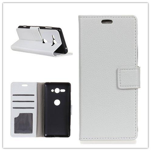 Funda® Flip Portefeuille Coque pour Sony Xperia XZ2 Compact (Blanc)