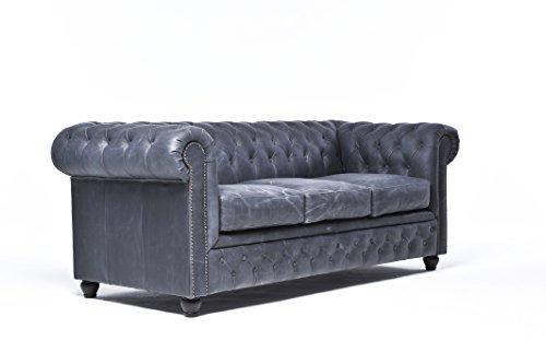 Canapé Chesterfield original 3 places en cuir véritable lavé à la main - Vintage Noir