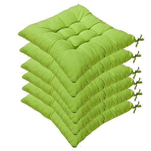 6er Set Stuhlkissen mit Bänder, 40x40x5cm, Sitzkissen für Stühle drinnen und draußen (Mehrere Farben zur Auswahl) (Grün)