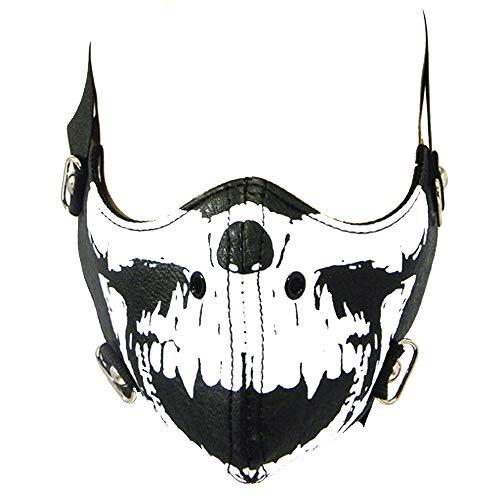 Motorista Máscara - Calavera Negro - Piel Sintética - Forrado & Resistente Al Viento