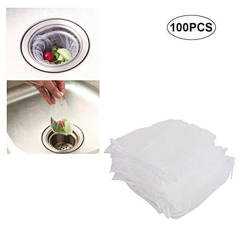 Küchenspüle Müllsäcke Filter Net Sieb Stopper Bag Einweg-Mesh Spüle Sieb Einweg-Müllsack für Küche und Bad (100PCS)