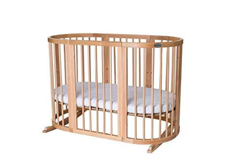 INGVART Smart Bed 9 en 1 - Cuna para niños (redonda, 77 x 77 cm, 125,173 cm, con colchón relleno de coco y látex MIDI 72 x 120 cm, madera natural)