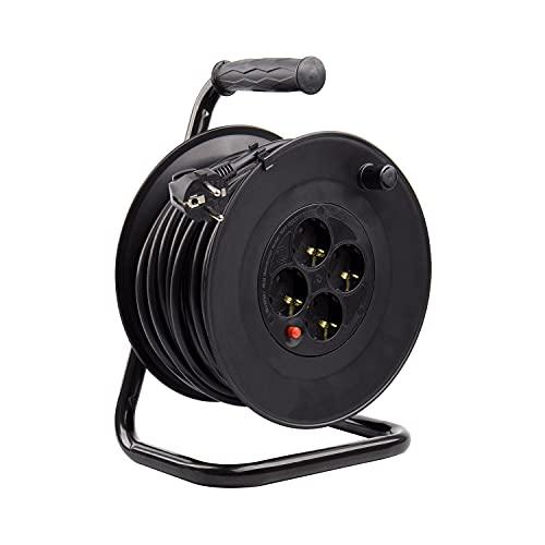 LEDKIA LIGHTING Carrete Alargador de Cable 25m Liso 3x1.5 mm Negro