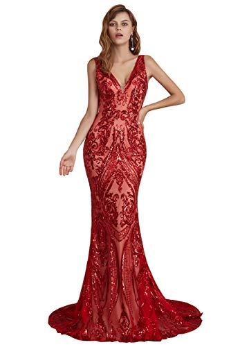 Ikerenwedding Women's V-Neck Sequins Sleeveless Lace-up Mermaid Evening Dress (US16W, Red) (Apparel)