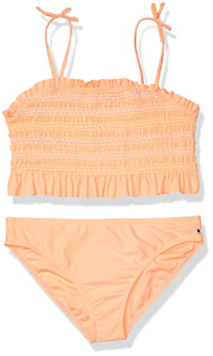 Lucky Brand Girls Two-Piece Swimsuit, Natalie Bright Melon, Large (12/14)