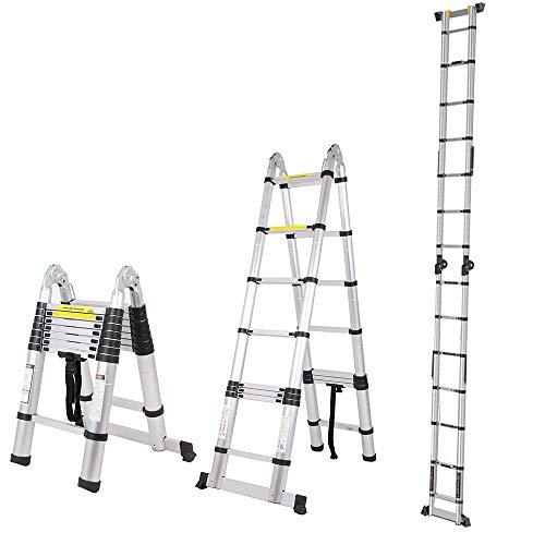 SogesPower 16.5 FT Aluminum Telescoping Ladder Extension Ladder Multi-Purpose Folding Telescopic Ladder with EN131 Standard 330 lbs Capacity,SPJF-UP500D