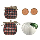 Just4You Fall Harvest Decorations for Home - Set of 1 Pumpkin Tealight Candle Holder, 2 Pumpkin Spice Tealight Candles, and 2 Wooden Pumpkin Shaped Tabletop Signs - Rustic Country Farmhouse Decor