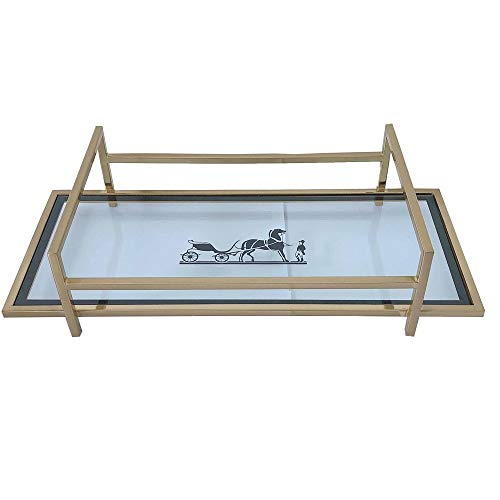 Glass Desktop-Tray Dekorative Rechteck Tray Spiegel Gold Metal Retro-Schmuck Vanity Parfüm Parfüm kosmetisches Aufbewahrungsbehälter Esstisch Tray Geeignet für Badezimmer und Schlafzimmer kosmetisc