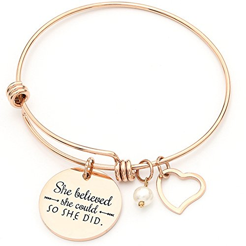 Jude Jewelers Stainless Steel Inspirational Encouragement Bracelet, She Believed She Could So She Did (Rose Gold)