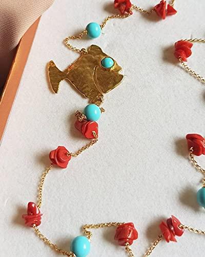 Collana a Catena in Argento 925 Placcato Oro con Pasta di Turchese, Corallo Rosso e Pesce in Ottone