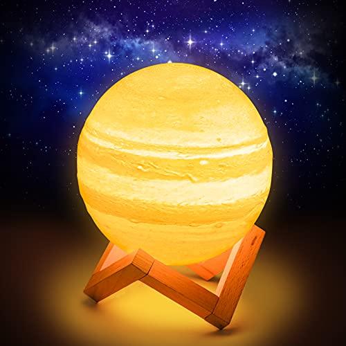 Fuyionsko 15 cm Júpiter Planet Lámpara,3D Impresión 16 Colores con Soporte, Control Táctil y Portátil USB Recargable para Decoración del Hogar y Regalos para Niños, Amigos, Amantes (Júpiter)