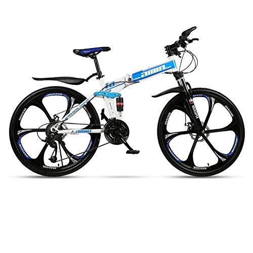 DSAQAO Mountain Bike Pieghevole,21 24 27 30 Speed 6 Spoke Disc Bicycle Full Suspension 24 Pollici MTB Bikes for Adult Teens Blu-Bianco 25 velocità