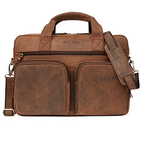 STILORD 'Caesar' Businesstasche 15,6 Zoll Leder Große Umhängetasche Aktentasche für Breite DIN A4 Ordner Laptoptasche für Arbeit Büro Uni Aufsteckbar Echtleder, Farbe:Sepia - braun