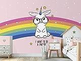 Oedim Fotomural Infantil Vinilo para Pared Conejo Unicornio Arcoiris | Mural | Fotomural Infantil Vinilo Decorativo | 100 x 70 cm | Decoración comedores, Salones, Habitaciones