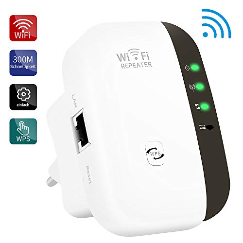 BeWlaner WLAN-Repeater, Wireless Netz Signal Verstärker 300Mbit/s, Fast-Ethernet Port, WPS Taste, EU Stecker, Mini WLAN Verstaerker Receiver Kompatibel mit Allen WLAN Geräte