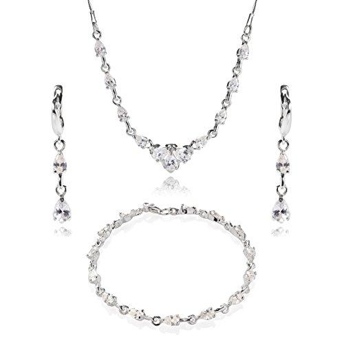 LillyMarie Damen Silber-Schmuckset Sterling-Silber 925 Zirkonia-Steine Glitzer Farblos Längen-verstellbar Geschenkverpackung Brautschmuck