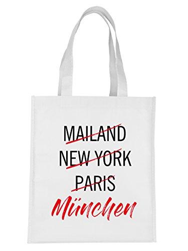 clothinx Einkaufstasche Weltstadt München Weiß