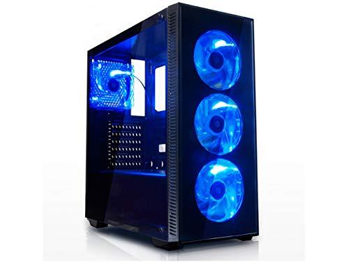 新元号「令和」記念セールゲーミングデスクトップPC 最新Ryzen 5 2400G搭載 / DDR4-8GB / office / USB3.0対応 / Win10 / 600W 80PLUS / ゲーミングベースパソコン (SSD120GB+HDD1TBモデル, 青)