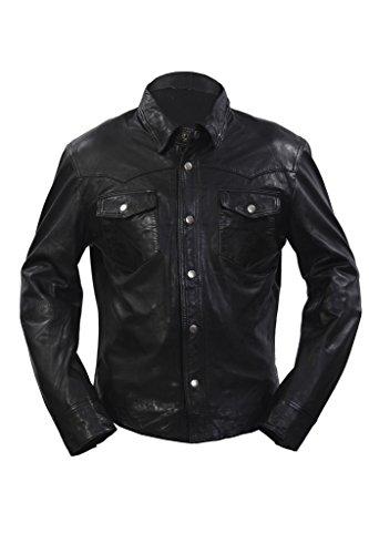 Infinity Retro Denim Estilo Ajuste Delgado Ocasional de la Camisa de Negro del Cuero de los Pantalones Vaqueros de la Chaqueta de los Hombres L