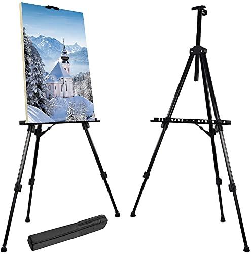 WYQ- 52 cm-162cm Easel de escritorio y piso portátil ajustable para mostrar pintura Pósteres Lienzo adecuado para adultos y niños Suministros de artesanía profesional con bolsa de transporte Mano de o