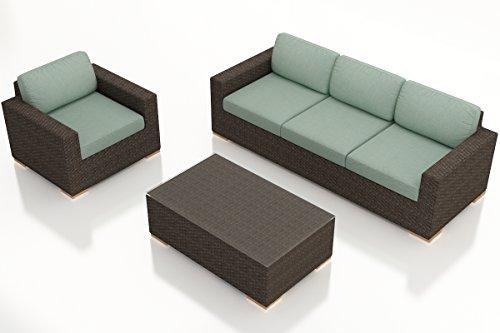 Harmonia Living HL-ARD-CH-3SS-SP 3 Piece Arden Sofa Set, Canvas Spa Cushions