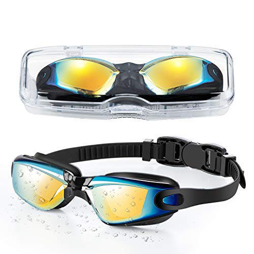 Portzon Kids Swim Goggles Anti Fog Swimming Goggles Clear No Leaking for Child, Black