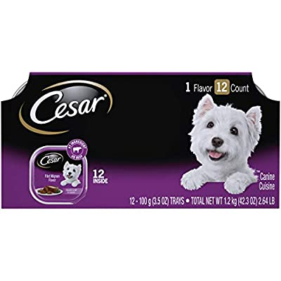 CESAR Soft Wet Dog Food Classic Loaf in Sauce Filet Mignon Flavor Multipack (24) 3.5 oz. Easy Peel Trays