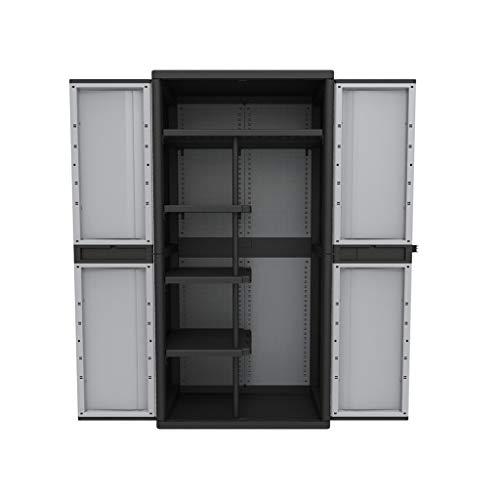 KREHER XXL Kunststoff Spindschrank mit einem durchgehenden Boden, schmalen Böden und Freifach für...