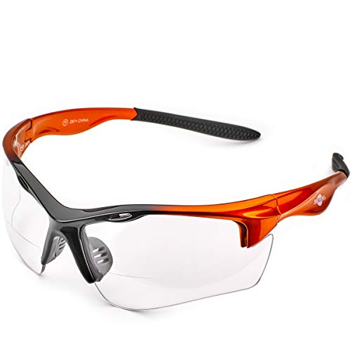 ToolFreak Rebel Bifocal Safety Glasses 2.5 Clear, Rated ANSI z87+ Impact / UV