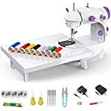 Mini Sewing Machine, MGahyi Portable Sewing Machine with Extension Table, Electric Crafting Mending Machine, Double Threads and Two Speeds Sewing Kit for Beginner Kids