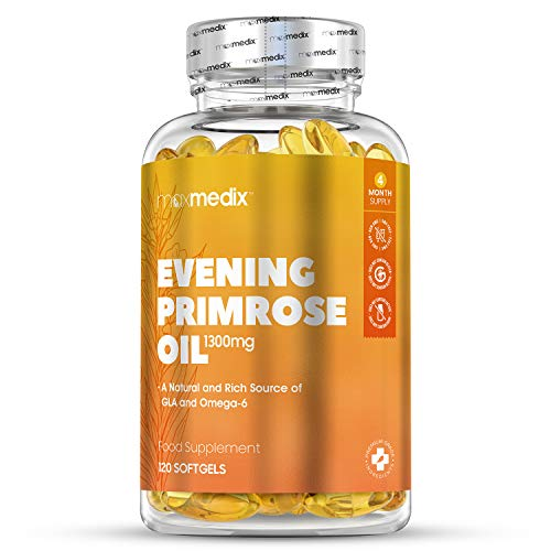 Huile d'Onagre 1300 mg en capsules MaxMedix – 120 capsules molles | Riche source naturelle de GLA et Oméga 6 – Complément alimentaire Evening Primrose Oil