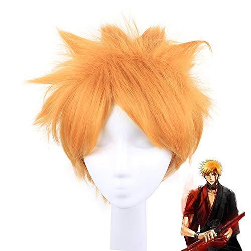 Cosplay 11.81in Anime Orange Short Wig Bleach, Kurosaki Ichigo Dress Up Pelo Sintético Fancy Game Masquerade Crazy Party Pelucas con Peluca Gratis Net Cap